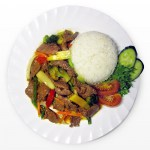 Beef and vegetables with rice