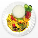Chicken with curry sauce and rice