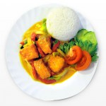 Salmon curry sauce with rice