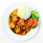 Salmon in sweet and sour sauce with rice