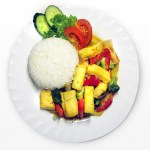 Tofu with vegetables and rice